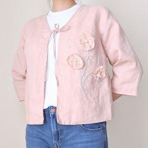 RICHARD MALCOLM Pink Floral Jacket M Vintage